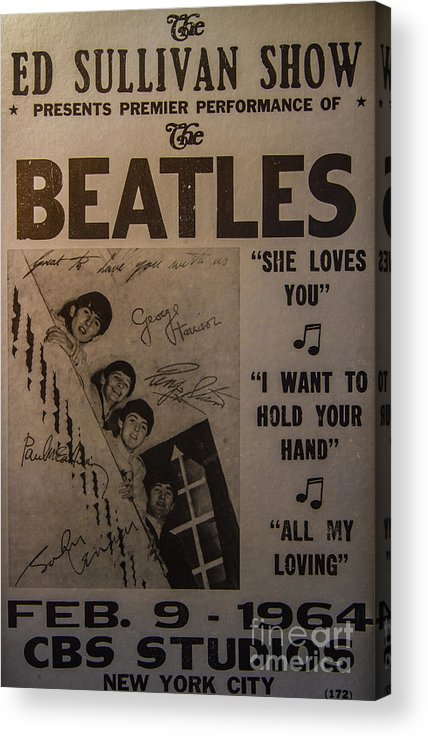 The Beatles Ed Sullivan Show Poster Acrylic Print featuring the photograph The Beatles Ed Sullivan Show Poster by Mitch Shindelbower