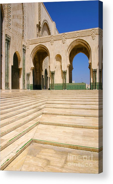 Colonnades Leading To Mosque Acrylic Print featuring the photograph The Massive Colonnades leading to the Hassan II Mosque Sour Jdid Casablanca Morocco by PIXELS XPOSED Ralph A Ledergerber Photography