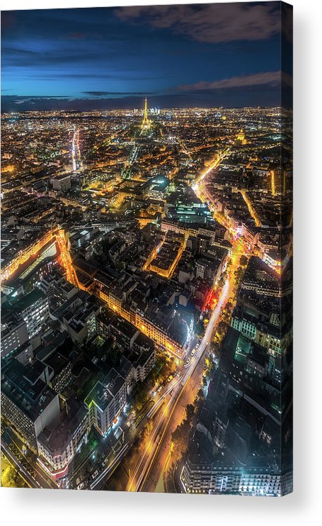Tranquility Acrylic Print featuring the photograph Twilight City View Of Paris by Coolbiere Photograph