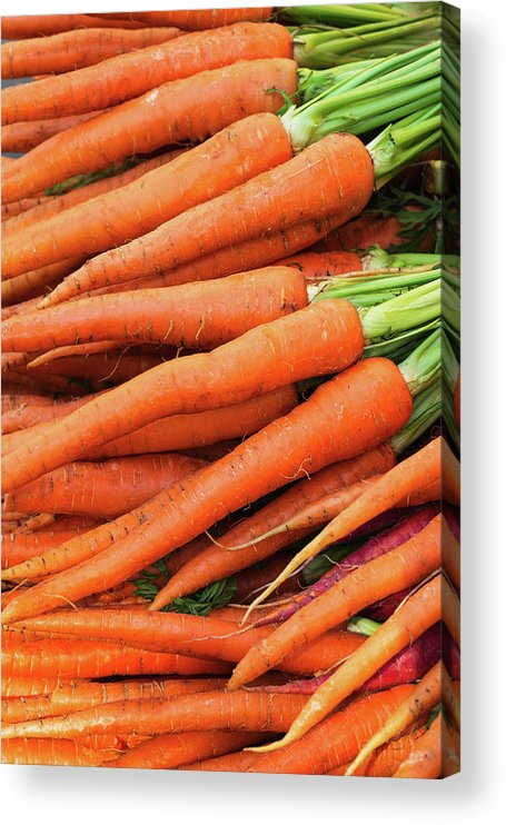 Orange Color Acrylic Print featuring the photograph Usa, New York City, Fresh Carrots by Tetra Images