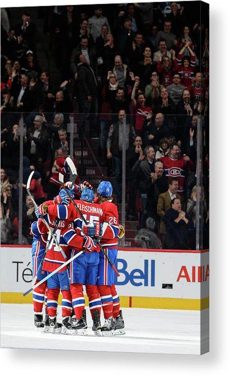 Tomáš Fleischmann Acrylic Print featuring the photograph Vancouver Canucks V Montreal Canadiens by Minas Panagiotakis