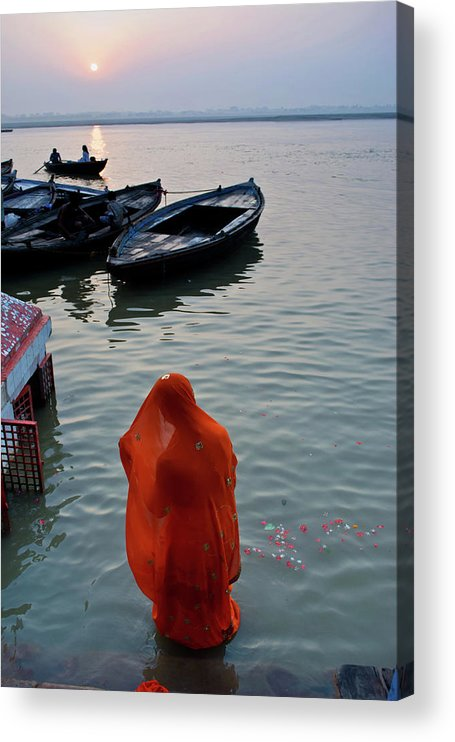 Hinduism Acrylic Print featuring the photograph Veiled Woman In Ganges At Varanasi by Subir Basak