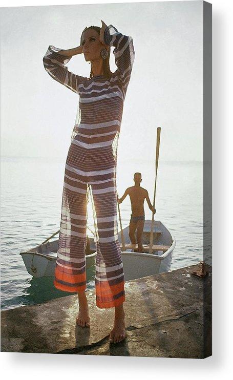 Fashion Acrylic Print featuring the photograph Veruschka Von Lehndorff Wearing Jumpsuit by Louis Faurer