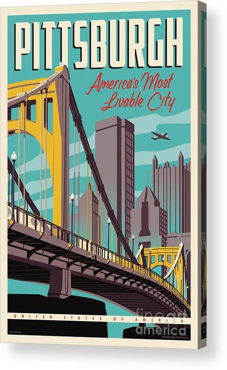 Pittsburgh Acrylic Print featuring the digital art Pittsburgh Poster - Vintage Travel Bridges by Jim Zahniser