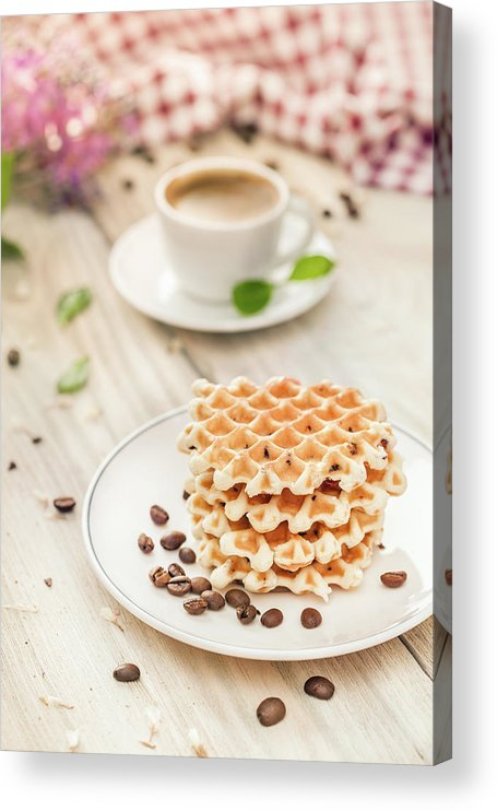 Breakfast Acrylic Print featuring the photograph Waffles With Coffee by Da-kuk