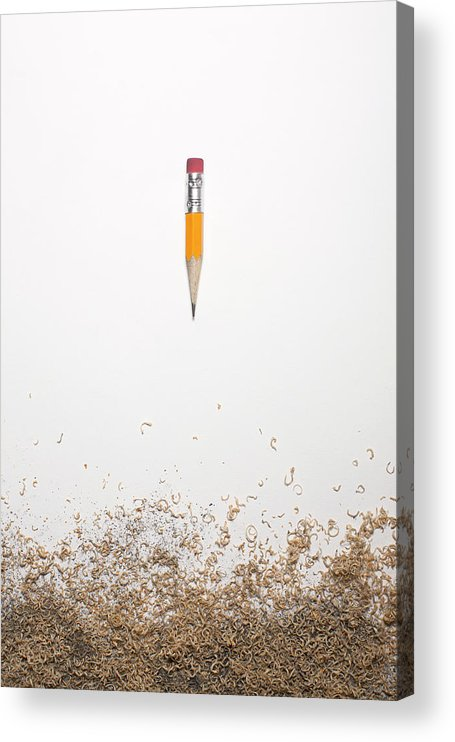 White Background Acrylic Print featuring the photograph Worn Down Pencil With Shaving by Chris Parsons
