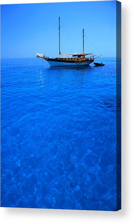 Freight Transportation Acrylic Print featuring the photograph Yacht Anchored In The Spectacular by Dallas Stribley
