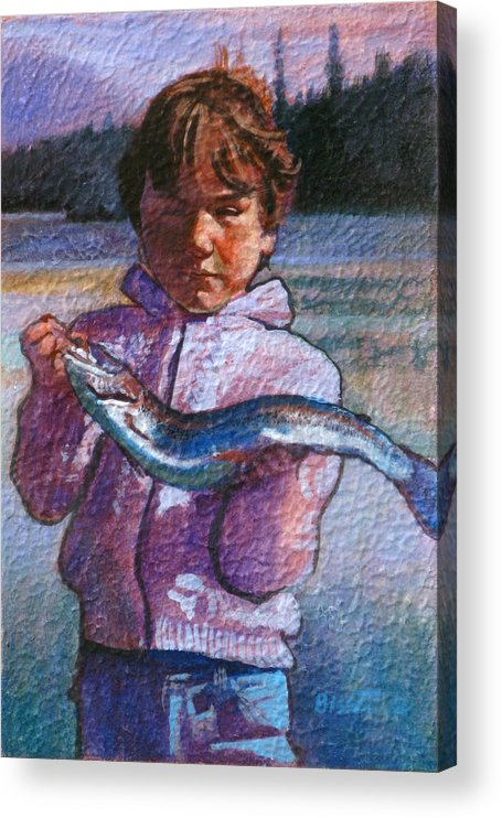 Boy Acrylic Print featuring the painting Catch Of The Day by Robert Bissett