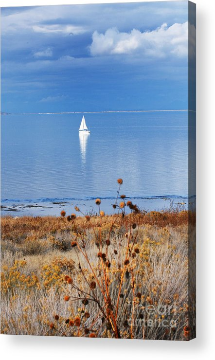 Acrylic Print featuring the photograph Morning Sail on the Great Salt Lake by Dennis Hammer
