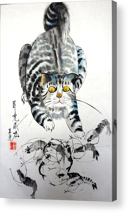 Cats Acrylic Print featuring the painting On The Alert by Lian Zhen