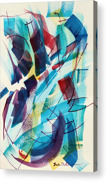 Watercolor Abstract Acrylic Print featuring the painting Slice. by Josh Chilton