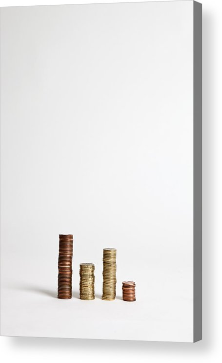 Vertical Acrylic Print featuring the photograph Stacks Of Various European Union Coins by Halfdark