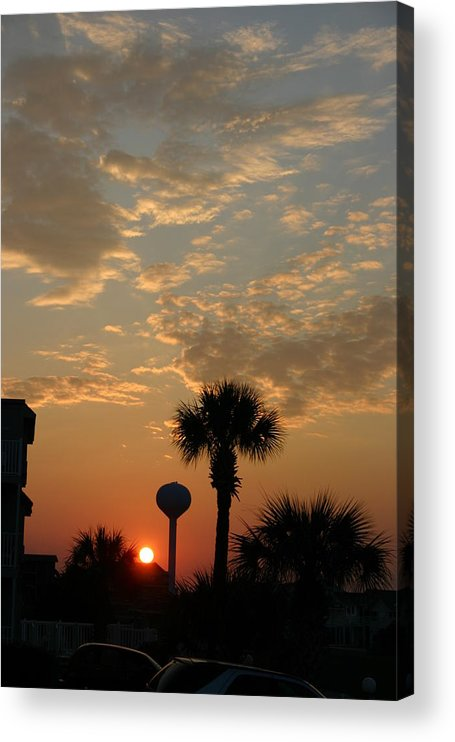 Clouds Acrylic Print featuring the photograph Sunset with Palms by Beebe Barksdale-Bruner