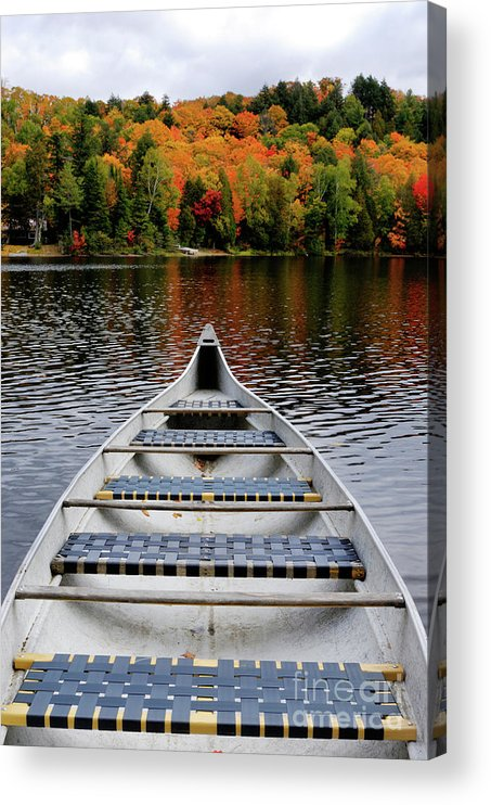 Canoe Acrylic Print featuring the photograph Canoe On A Lake by Maxim Images Prints
