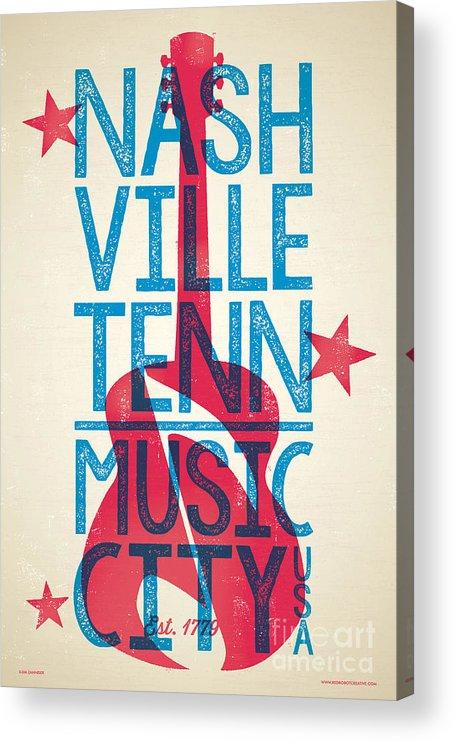 Guitars Acrylic Print featuring the digital art Nashville Poster - Tennessee by Jim Zahniser