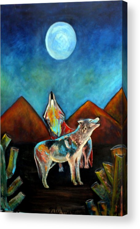 Wolves Acrylic Print featuring the painting Wolves Howling at the Moon by Pilar Martinez-Byrne