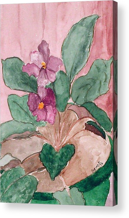Watercolor Acrylic Print featuring the painting African Violet by Margie Byrne