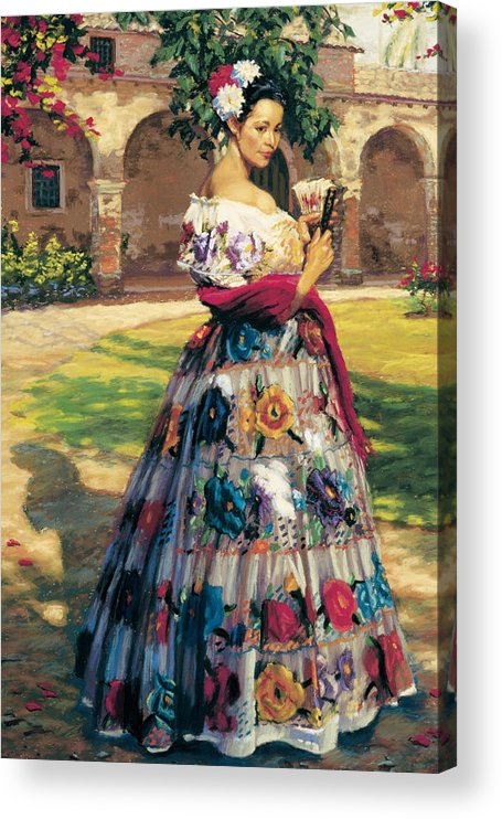 Woman Elaborately Embroidered Mexican Dress. Background Mission San Juan Capistrano. Acrylic Print featuring the painting Al Aire Libre by Jean Hildebrant