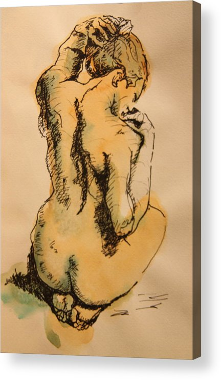 Nude Acrylic Print featuring the drawing Alone by Dan Earle