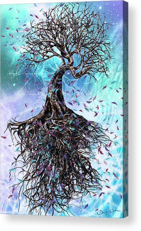 Tree Acrylic Print featuring the mixed media At the Root of All Things by Chris Cole