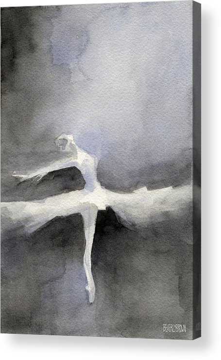 Ballet Acrylic Print featuring the painting Ballet Dancer in White Tutu Watercolor Paintings of Dance by Beverly Brown Prints