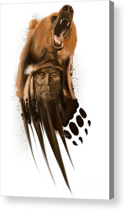 Bear Art Acrylic Print featuring the painting Bear spirit by Sassan Filsoof