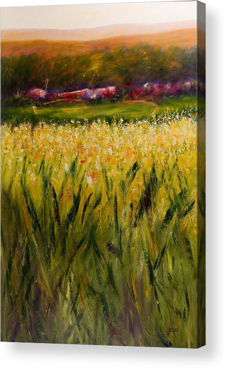 Landscape Acrylic Print featuring the painting Beyond The Valley by Shannon Grissom