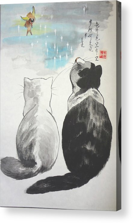 Animals Acrylic Print featuring the painting Black And White Cat Fantasy by Lian Zhen