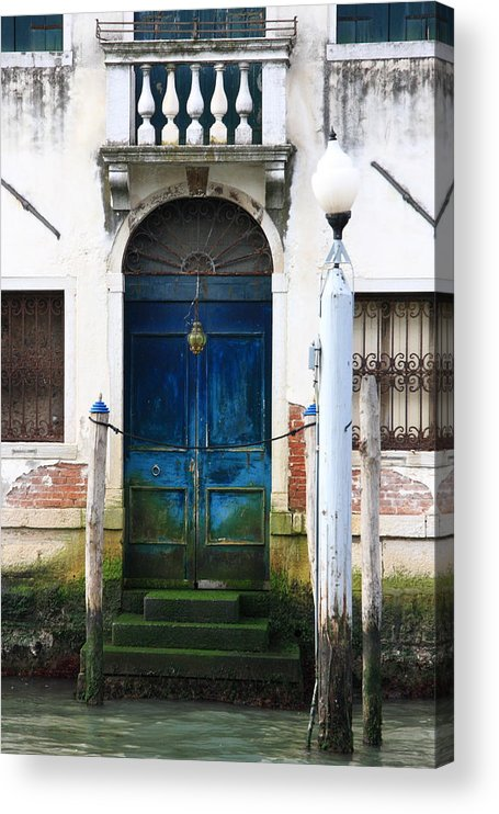 Venice Acrylic Print featuring the photograph Blue Door on Grand Canal in Venice by Michael Henderson