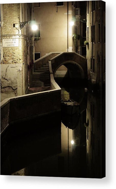 Venice Acrylic Print featuring the photograph Bridge and Canal in Venice at Night by Michael Henderson