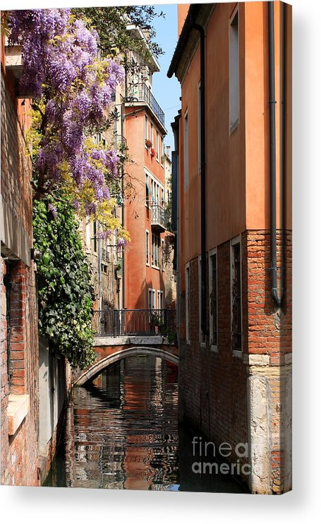 Venice Acrylic Print featuring the photograph Canal in Venice with Flowers by Michael Henderson