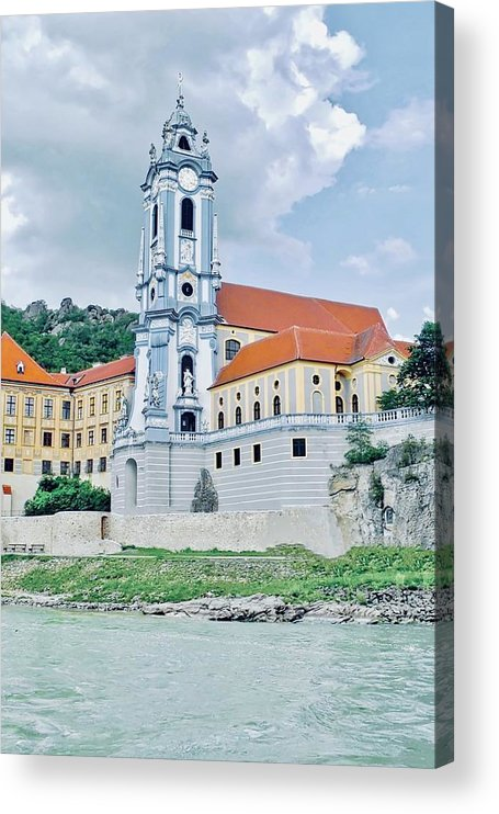 Durnstein Abbey Acrylic Print featuring the photograph Charming Durnstein on the Danube by Kirsten Giving