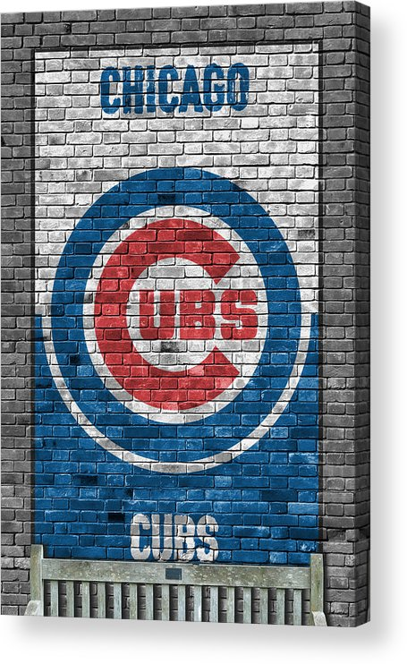 Cubs Acrylic Print featuring the painting Chicago Cubs Brick Wall by Joe Hamilton
