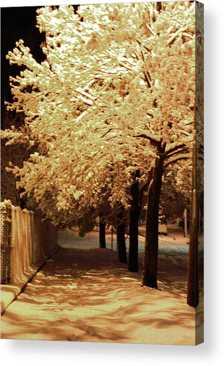 Snow Acrylic Print featuring the photograph City Snow Light by Angelique Bowman