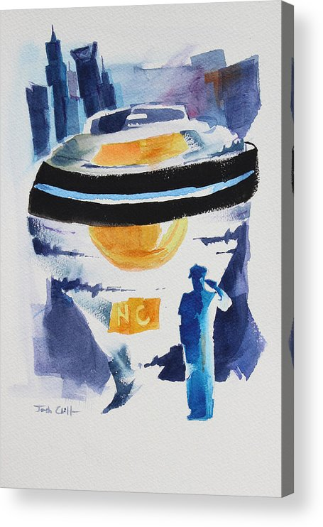 Police Acrylic Print featuring the painting Cmpd Fallen. by Josh Chilton