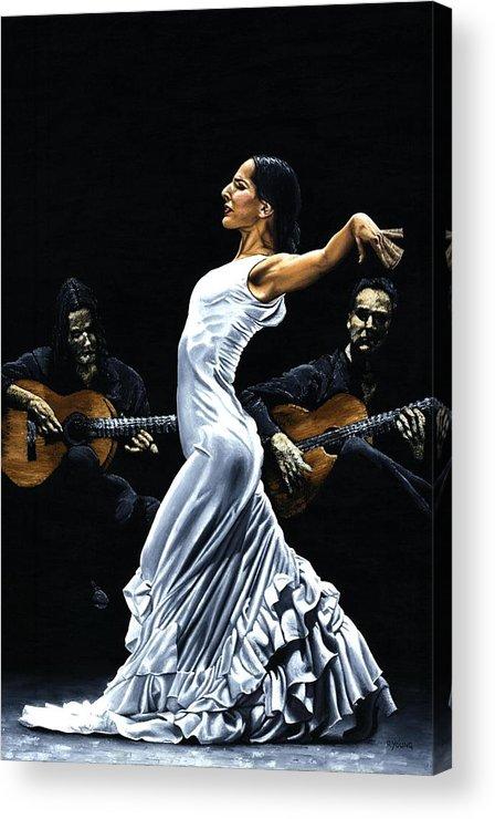 Flamenco Acrylic Print featuring the painting Concentracion del Funcionamiento del Flamenco by Richard Young