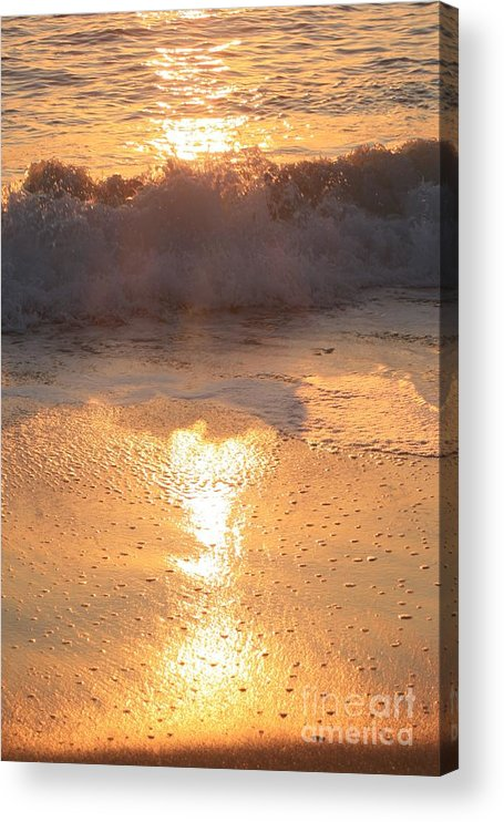 Waves Acrylic Print featuring the photograph Crashing Wave at Sunrise by Nadine Rippelmeyer