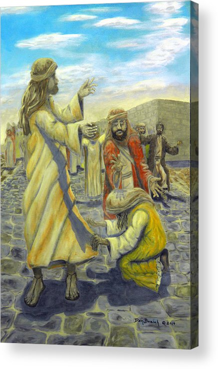 Christ Acrylic Print featuring the painting Daughter your faith has Healed you by Dan Bozich