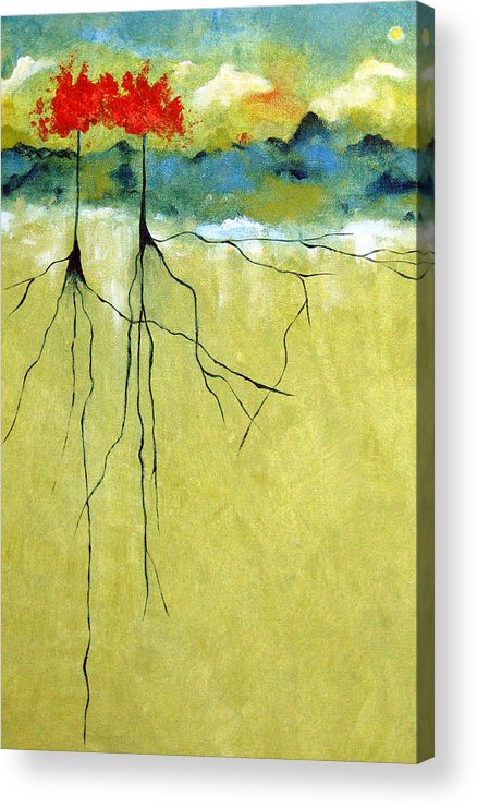 Abstract Acrylic Print featuring the painting Deep Roots by Ruth Palmer