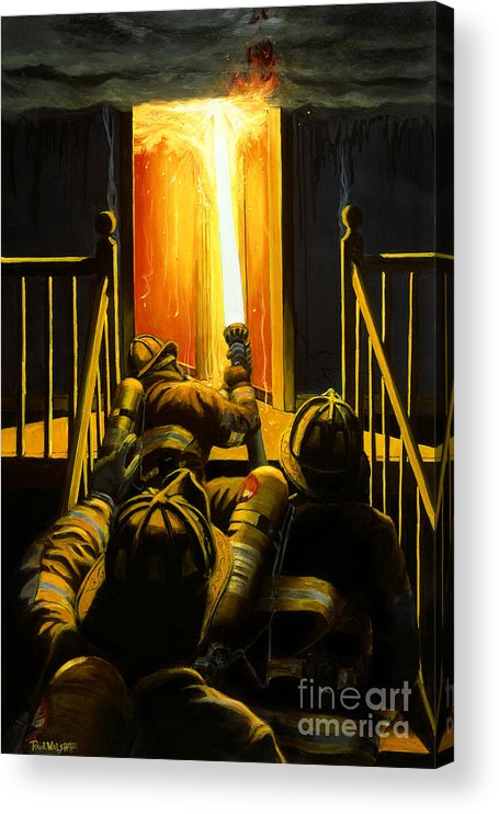 Firefighting Acrylic Print featuring the painting Devil's Stairway by Paul Walsh