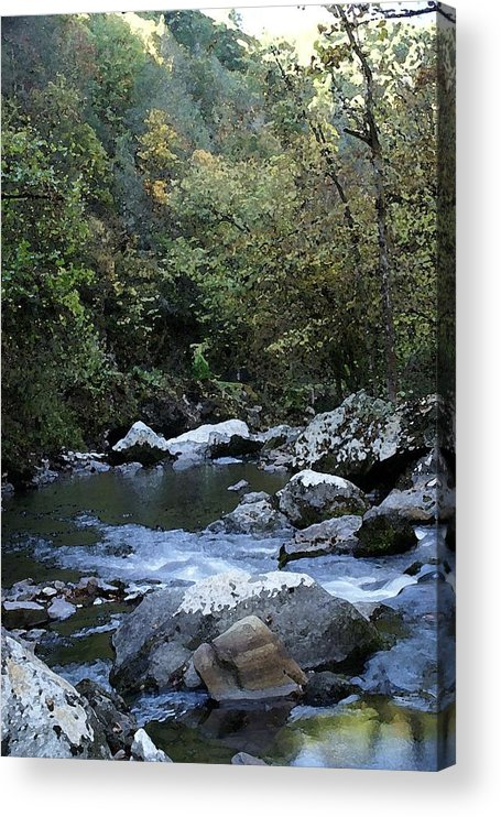 Stream Acrylic Print featuring the digital art Down Stream by Bj Hodges