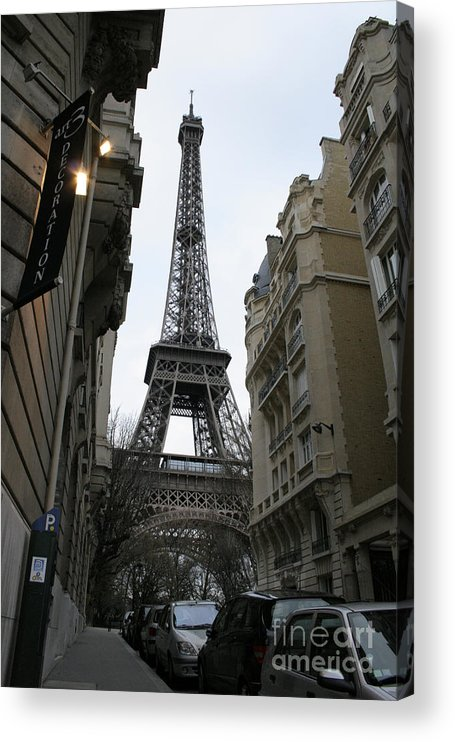 Eiffel Tower Acrylic Print featuring the photograph Eiffel Tower through a Concrete Forest by Joshua Francia