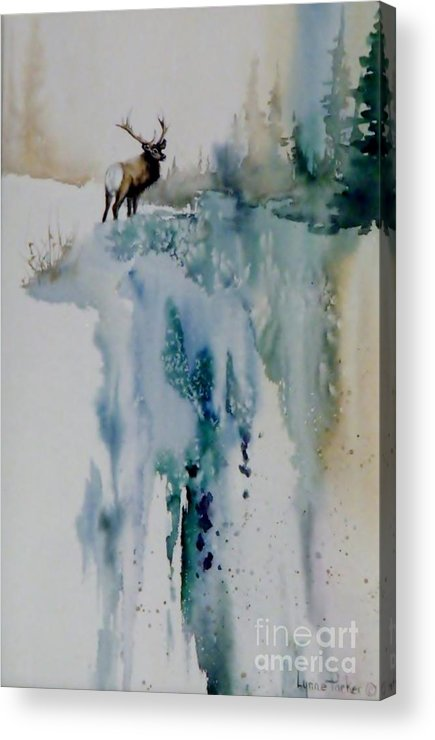 Bull Elk On Top Of Mountain Acrylic Print featuring the painting Elk On Top by Lynne Parker