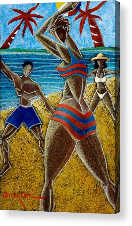 Beach Acrylic Print featuring the painting En Luquillo Se Goza by Oscar Ortiz