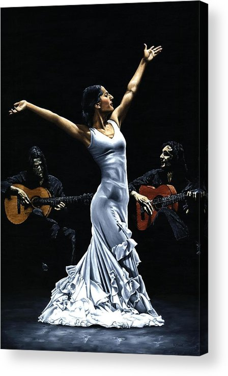 Flamenco Acrylic Print featuring the painting Finale del Funcionamiento del Flamenco by Richard Young
