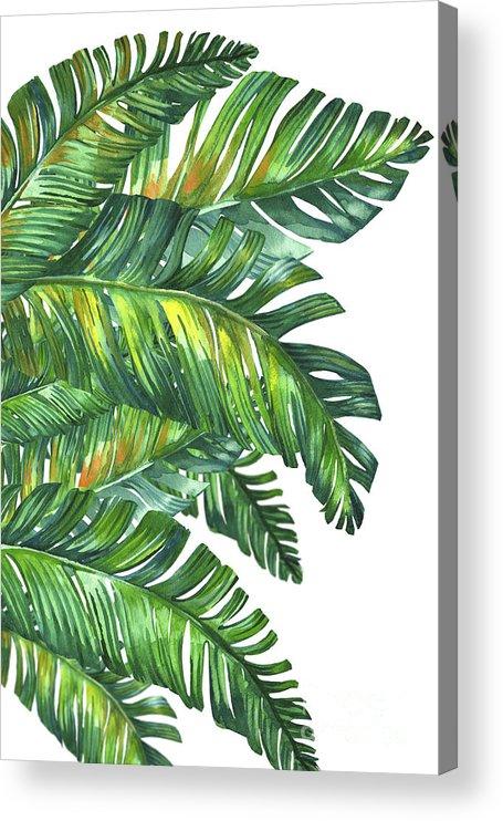 Summer Acrylic Print featuring the digital art Green Tropic by Mark Ashkenazi