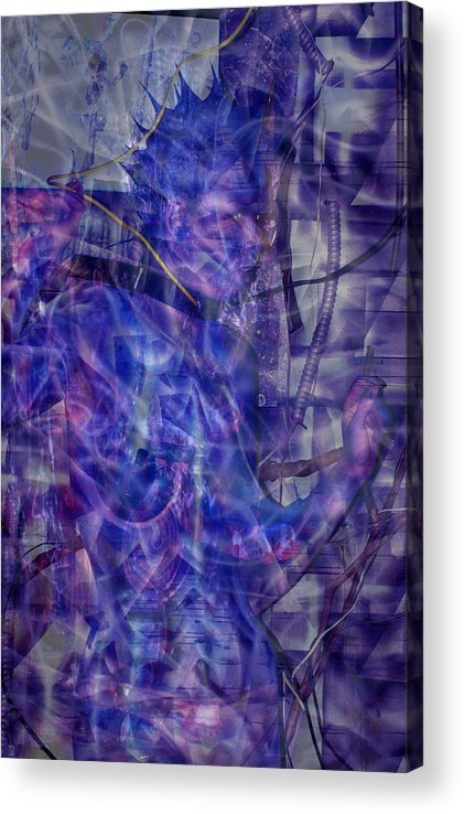 Blue Acrylic Print featuring the painting Growing Dimensional Blue Aliens by Leigh Odom