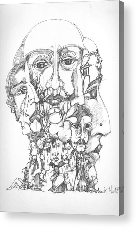 Surreal Acrylic Print featuring the drawing Heads by Padamvir Singh