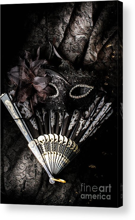 Masquerade Acrylic Print featuring the photograph In fashion of mystery and elegance by Jorgo Photography