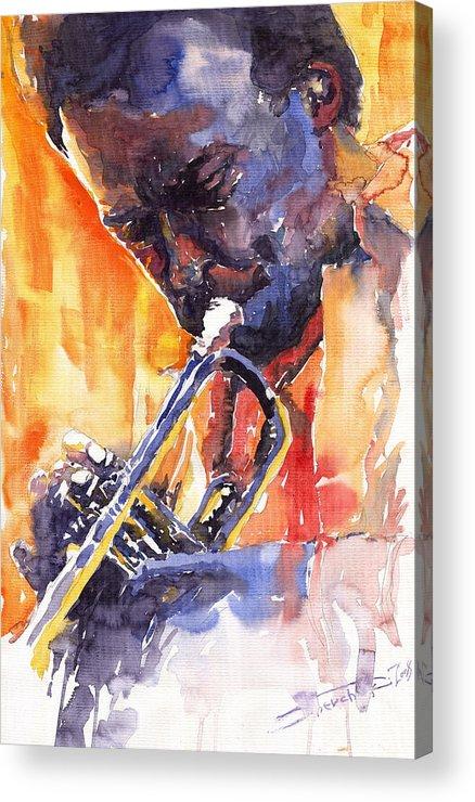 Jazz Acrylic Print featuring the painting Jazz Miles Davis 9 Red by Yuriy Shevchuk